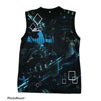 Kaos singlet pria wanita dewasa baju badminton volly tenis printing 3d - SLTR-MZ-001, M