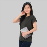 Monellina CATLIN Baju Kaos Atasan Batwing Lengan Pendek Wanita