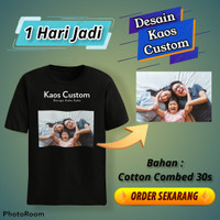 Baju kaos custom satuan/sablon custom satuan foto/nama/tulisan/gambar