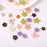 Enamel Charm Bandul Mix Flower Bahan Aksesoris Kalung Gelang Anting