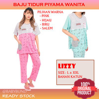 Baju Tidur Set Piama Wanita Dewasa Bahan Katun Lengan Pendek LIZZY - Pink, L