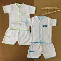 Setelan Pendek Baju Bayi Bon Bon Size 0 3 Bulan Rumput Putih