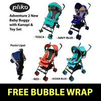 Stroller Pliko Adventure 2 New Baby Buggy Kereta Bayi Kanopi & Mainan - Navy Blue