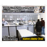 Plastik Mika Bening Pembatas Ruangan Sekat Toko AntiCovid 122cm 0.90mm