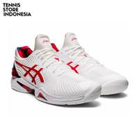 Asics Court FF Novak LE White/Classic Red ( Sepatu Tenis / Tennis ) - 39