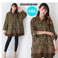 Baju Batik Wanita Jumbo Kemeja Batik Wanita Jumbo Big Size S15039-4XL - Gold