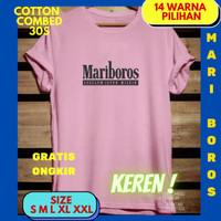 Baju kaos keren terkini mariboros cewek cowok pria wanita remaja katun - Pink, S BB 40-50
