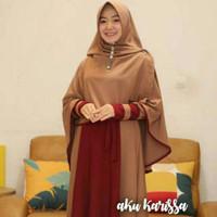 Baju Gamis Wanita Syari Karimah Hijab Set Dress Exclusive Itycrepe - Mocca, All Size