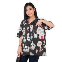 Monellina 90150 Baju Kemeja Atasan XXL Jumbo Lengan Pendek Wanita