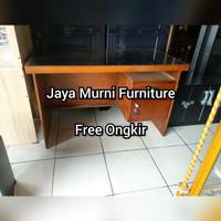Meja Kantor Meja Kerja Meja Tulis Office Kayu Blockteak Kaca 1/2 Biro