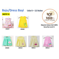 Baju/Dress bayi Perempuan0-6 Bulan Katun 100% Import Motif B