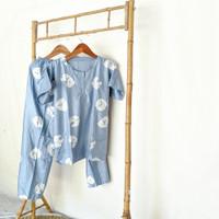 Set Piyama Pajamas Rayon Motif Daun Bunga Cantik Nyaman Dipakai Otg