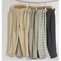 celana panjang pensil tartan baggy pants wanita cewek remaja bahan