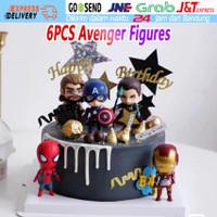 6pcs/Set Mainan Marvel Avengers Figure Marvel Avengers For Topper Cake