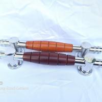 Handle pintu rumah model kayu panjang 33cm natural/mahoni