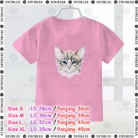 KAOS/BAJU ATASAN PEREMPUAN/LAKI-SABLON/DIGITAL PRINT - kucing 01 - Size S, Biru Muda