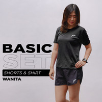 FELCO Basic Set Shirt & Short Kaos Baju & Celana Olahraga Cewek Gym