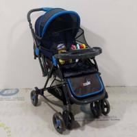2in1 Pliko PK268 Grande Baby Stroller Kereta Dorong Bayi & Ayunan Blue
