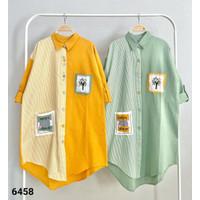 Tunik wanita, import, polos, motif salur kombinasi polos - Kuning