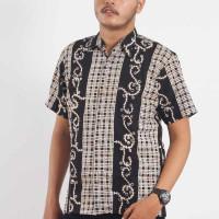 Kemeja Baju Batik Cap Pekalongan Hem Pria Lengan Pendek Hitam HP-5006 - S