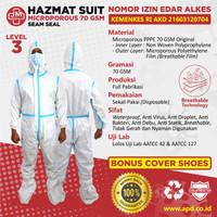 Baju APD HAZMAT MICROPOROUS Seam Seal Sealing Biru Suit AKD KEMENKES