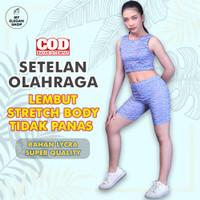 Setelan Olahraga Wanita / Set Short Pants & Corp Top Senam Yoga Zumba - XL