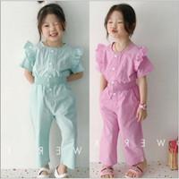 Baju terusan jumpsuit panjang anak perempuan import - ELA jumpsuit - Hijau, 15