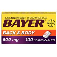 Bayer Extra Strength Aspirin 500 mg,Pain Reliever Back Body 100 tab
