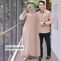 Baju Couple Gamis tile dan kemeja Nuraini sepasang kondangan lebaran