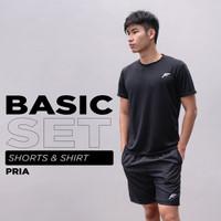 FELCO Basic Set Shirt & Short Kaos Baju & Celana Olahraga Cowok Gym