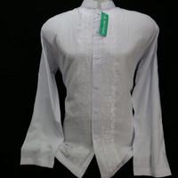 Dijual Baju Koko Dewasa Muslim Pria Lengan Panjang Putih Bordir Senada - Putih, S