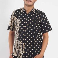 Kemeja Baju Batik Cap Pekalongan Hem Pria Lengan Pendek Hitam HP-5026 - S