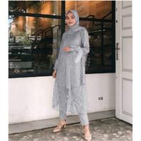 stelan baju celana kondangan pesta set kebaya brokat wanita modis 2021