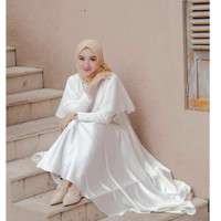 SYRIN DRESS/ DRESS MURAH/BAJU HIJAB MURAH/DRES WANITA - Putih, All Size