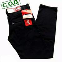 Celana panjang jeans pria warna hitam/ celana jeans levis cowok