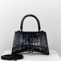 BALENCIAGA HOURGLASS SMALL WITH TOP HANDLE CROCO EMBOSSED LEATHER