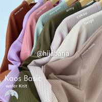 Kaos lengan Panjang Wanita / Kaos Knit Polos / Kaos Polos Wanita - Beige, all size
