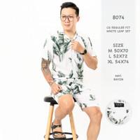 Set baju tidur kemeja piyama pendek pria dewasa putih motif 8074 BY - 8074 CG, M