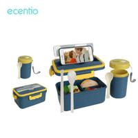 ecentio Gelas sup portabel dan kotak makan siang tertutup set 3 gird