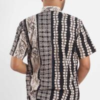 Kemeja Baju Batik Cap Pekalongan Hem Pria Lengan Pendek Hitam HP-5034 - S