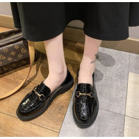 Sepatu Wanita Loafers Docmart Croco Kulit Sintetis Hitam