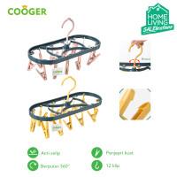 COOGER Hanger Jemuran Kaos Kaki Jemuran Baju Bayu dengan 12 Pcs Klip