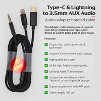 Lightning Type-C 24Bit Audio 3.5mm Aux Charging Kabel Cable Adapter - LightTC-Aux