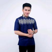 Baju Koko pria / kombinasi batik bordil moderen /lengan pendek - navi, M