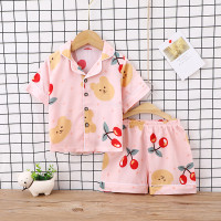 Baju tidur anak laki laki / piyama anak perempuan / kerah halus -PJ016 - Pink Cherry, 100