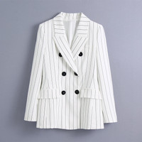Blazer Wanita Import White Stripe (XS,S,M,L) - XS
