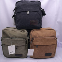 Tas Selempang Sport Slempang Pria / Shoulder Bag Mini Bag Kanvas#K068- - Hijau Gelap
