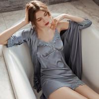 Dyana Lingerie Kimono Set Satin Silk Premium Import Baju Tidur Seksi - Cyan
