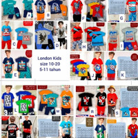 Baju Setelan Anak London Kids size 10-20 Usia 5 6 7 8 9 10 Tahun