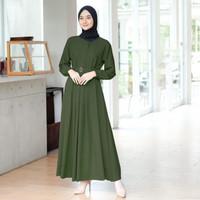 Baju gamis / dress wanita muslim terbaru ARMY bahan mosecrape grade A